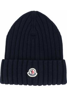 Moncler Chunky Rib Knit Beanie Hat With Logo - Azul