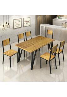 Conjunto De Mesa De Jantar Lizzi Ii Com 6 Cadeiras Madeira E Preto