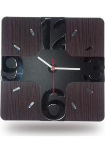 Relógio De Parede Em Madeira Mdf Laminado Com Números 3D Em Espelhos Decoramix