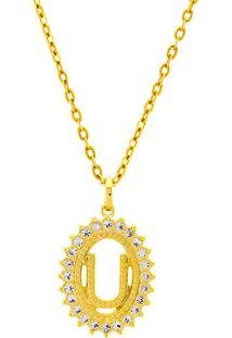 Gargantilha Horus Import Pingente Letra U Banhada Ouro Amarelo 18 K - 1060222