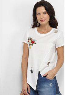 Camiseta Pérola Recorte Aplique Manga Curta Feminina - Feminino-Off White