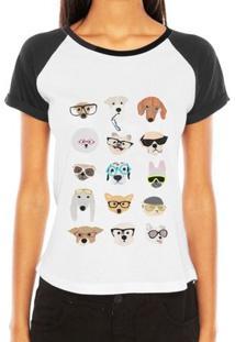 Camiseta Raglan Criativa Urbana Engraçada Pet Glasses Love Dog - Feminino-Branco