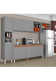 Cozinha Compacta 1 Balcão 1 Paneleiro E 1 Armário De Geladeira Nice Ii Siena Móveis Cinza/Laranja