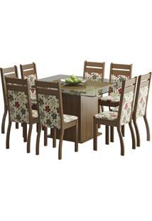 Conjunto De Mesa Com 8 Cadeiras Louise Rustic E Floral Hibiscos