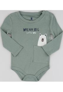 Body Infantil Urso Com Bolsinho Manga Longa Verde