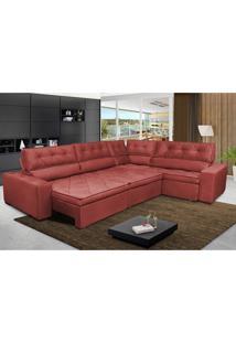 Sofa De Canto Retrátil E Reclinável Com Molas Cama Inbox Austin 3,65X2,54 Ou 2,54X3,65 Suede Velusoft Vermelho