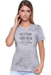 Baby Look Nada Te Pertube Ms6073 Ágape Feminina - Feminino-Cinza