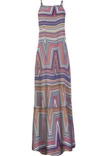 Vestido Longo Em Tecido De Viscose Estampado