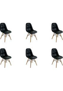 Kit 06 Cadeiras Eiffel Botone S/ Braço Preto Rivatti