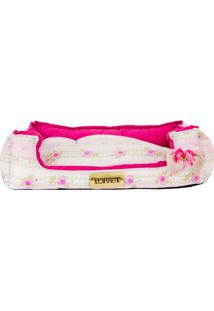 Cama Retangular Floral- Pink Rosa Claro- 17X70X60C4 Patas