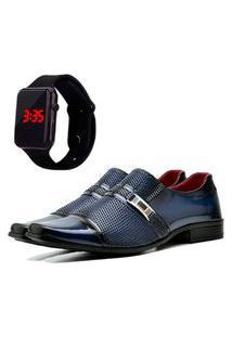 Sapato Social Elegant Com E Sem Verniz Com Relógio Led Dubuy 814La Azul