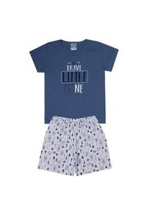 Conjunto Pijama Infantil Menino Em Meia Malha Camiseta Petróleo E Bermuda Branca Rotativa - Kontrato