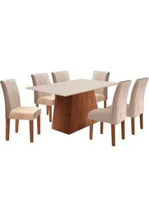 Conjunto De Mesa De Jantar Sevilha Com 6 Cadeiras Classic Ll Suede Off White E Bege
