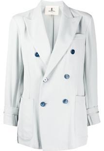 Barena Blazer Cropped Com Abotoamento Duplo - Azul