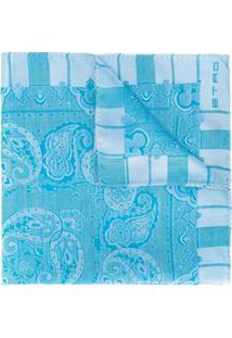 Etro Cachecol De Seda Com Estampa Paisley - Azul