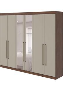Guarda-Roupa Casal Com Espelho Castellaro 6 Pt 6 Gv Imbuia E Off White