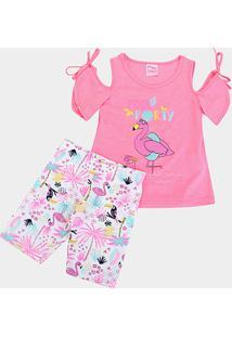 Conjunto Infantil For Girl Flamingo Pool Party Feminino - Feminino