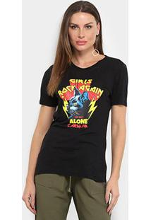 Camiseta Carmim Girls Rock Again Alone Feminina - Feminino-Preto