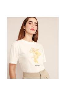 T-Shirt De Algodão Anjos Manga Curta Decote Redondo Mindset Off White