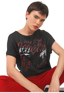 Camiseta Desigual Patch-Cola Preta - Preto - Feminino - Viscose - Dafiti
