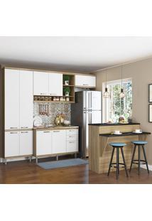 Cozinha Compacta Sicília 11 Portas 3 Gavetas Sem Tampo Com Bancada Branco/Argila - Multimóveis