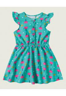 Vestidos Malha Listrada Malwee Kids Verde - 1