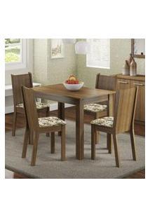 Conjunto Sala De Jantar Madesa Rute Mesa Tampo De Madeira Com 4 Cadeiras Rustic/Lírio Bege