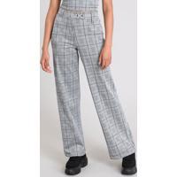 435ecbfd8 Calça Feminina Pantalona Estampada Xadrez Com Argola Metálica Cinza Mescla