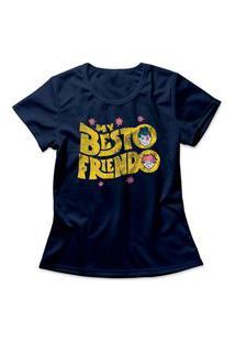 Camiseta Feminina Jujutsu Kaisen My Besto Friendo Azul Marinho