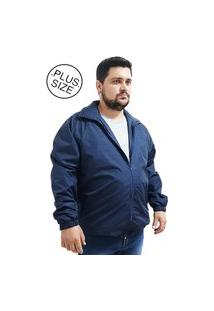 Jaqueta Corta Vento Semi Impermeável Butu Biru Plus Size Azul Escuro