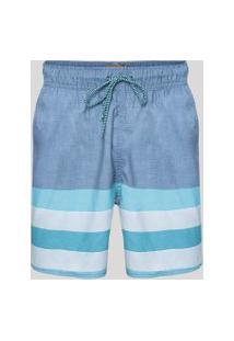 Bermuda Masculina Com Listras Com Cadarço E Bolsos Azul
