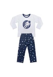 Pijama Juvenil Look Jeans Space Longo Marinho