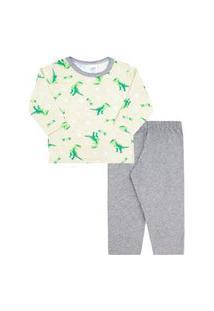 Pijama Bebê Masculino Meia Malha Camiseta Manga Longa Verde Dinos E Calça (1/2/3) - Kappes - Tamanho 3 - Verde