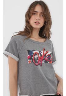 Camiseta Coca-Cola Jeans Estampada Cinza - Cinza - Feminino - Algodã£O - Dafiti