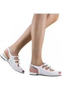 Sandália Zariff Shoes Rasteira Laço Tressê Branco