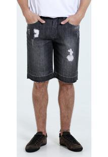 Bermuda Masculina Reta Jeans Puídos Marisa