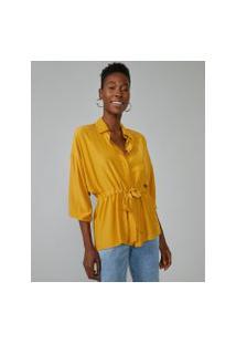 Amaro Feminino Camisa Amarração Cintura, Amarelo Escuro
