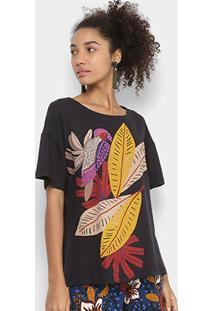 Camiseta Cantão Estampada Feminina - Feminino-Preto