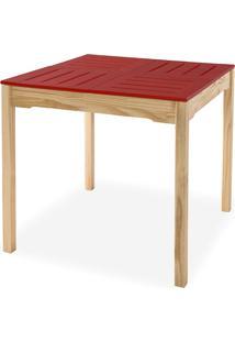 Mesa De Jantar Compacta De Madeira Maciça Taeda Natural Com Tampo Colorido Olga - Verniz Natural/Vermelha 80X80X75Cm
