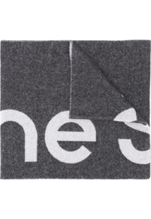 Acne Studios Cachecol De Lã Com Logo - Preto