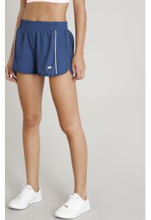 Short Feminino Running Esportivo Ace Com Vivo Contrastante Azul Petróleo