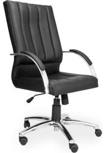 Cadeira De Escritório Diretor Face Couro Ecológico Preto