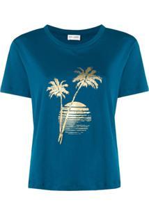 Saint Laurent Camiseta Com Estampa - Azul