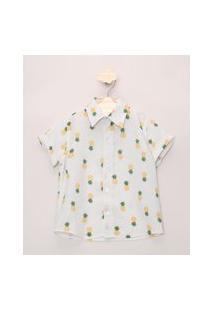Camisa Infantil Estampada De Abacaxis E Chevron Manga Curta Dobrada Off White