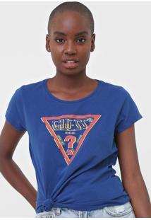 Camiseta Guess Logo Azul