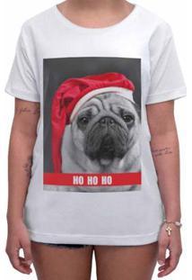 Camiseta Impermanence Estampada Pug Noel Feminina - Feminino-Branco