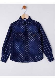Camisa Manga Longa Infantil Petit Kid Masculina - Masculino-Azul