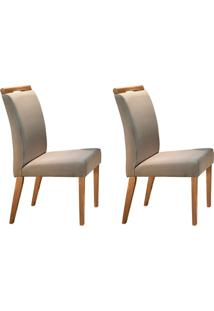 Conjunto Com 2 Cadeiras De Jantar Ciana Creme