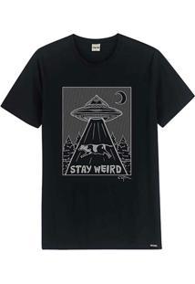 Camiseta Preta Slim Stay Weird Live
