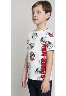 Camiseta Infantil Homem Aranha Estampada Manga Curta Off White